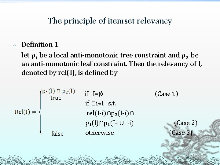 The principle of itemset relevancy Definition 1 let p 1 be a local anti-monotonic