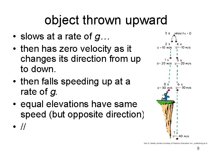 object thrown upward • slows at a rate of g… • then has zero