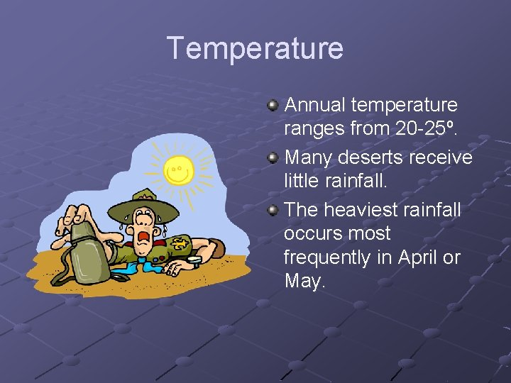 Temperature Annual temperature ranges from 20 -25º. Many deserts receive little rainfall. The heaviest