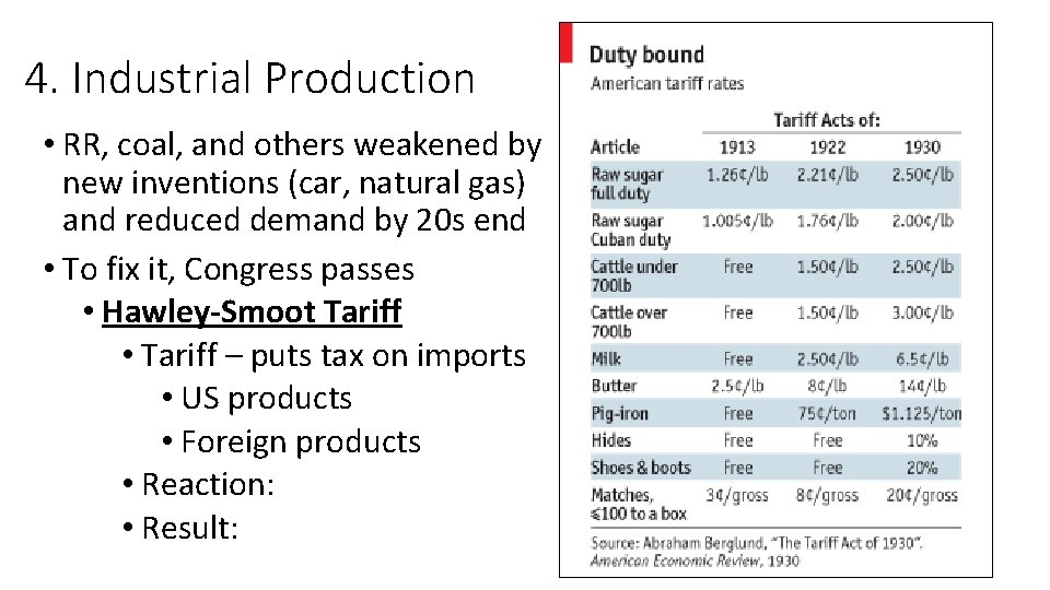 4. Industrial Production • RR, coal, and others weakened by new inventions (car, natural