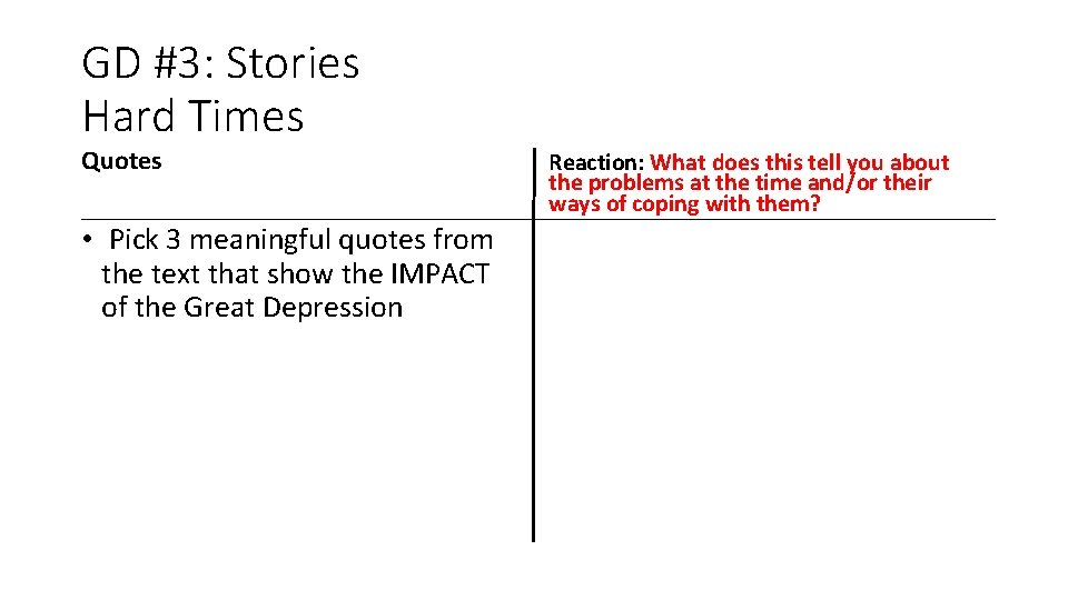GD #3: Stories Hard Times Quotes • Pick 3 meaningful quotes from the text