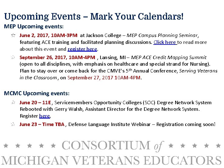 Upcoming Events – Mark Your Calendars! MEP Upcoming events: June 2, 2017, 10 AM-3