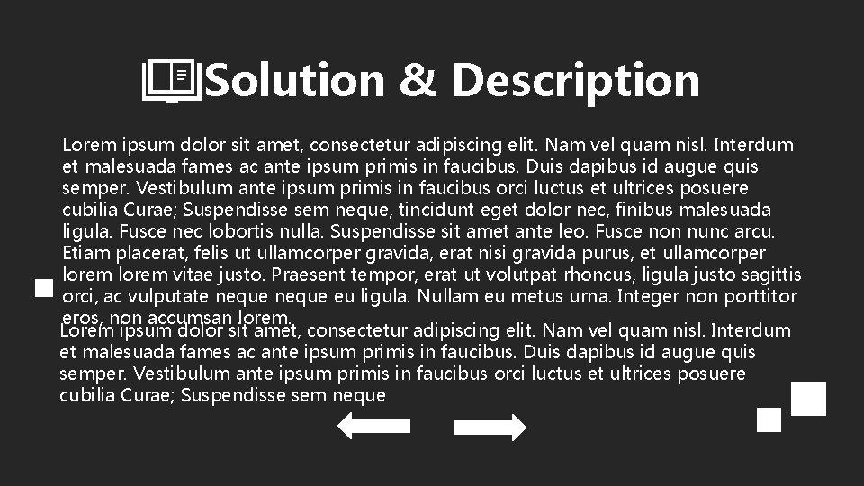 Solution & Description Lorem ipsum dolor sit amet, consectetur adipiscing elit. Nam vel quam