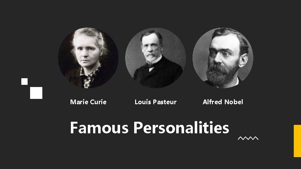 Marie Curie Louis Pasteur Alfred Nobel Famous Personalities
