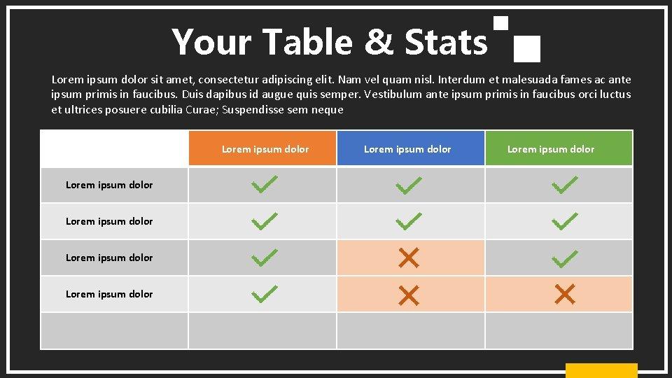 Your Table & Stats Lorem ipsum dolor sit amet, consectetur adipiscing elit. Nam vel