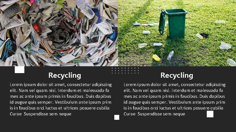 Recycling Lorem ipsum dolor sit amet, consectetur adipiscing elit. Nam vel quam nisl. Interdum