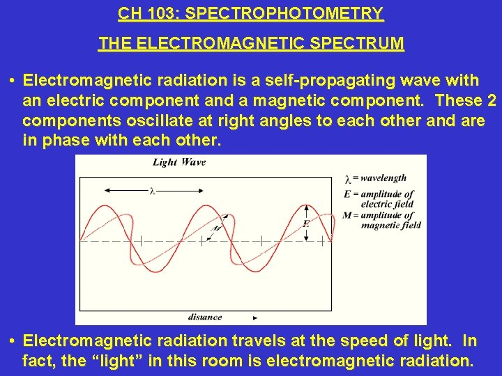 CH 103: SPECTROPHOTOMETRY THE ELECTROMAGNETIC SPECTRUM • Electromagnetic radiation is a self-propagating wave with