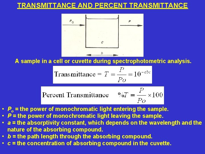 TRANSMITTANCE AND PERCENT TRANSMITTANCE A sample in a cell or cuvette during spectrophotometric analysis.