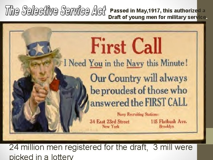 -Passed in May, 1917, this authorized a Draft of young men for military service.