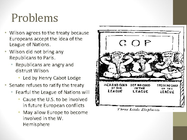 Problems • Wilson agrees to the treaty because Europeans accept the idea of the