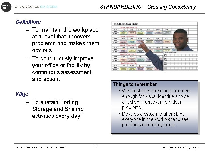 STANDARDIZING – Creating Consistency Definition: – To maintain the workplace at a level that