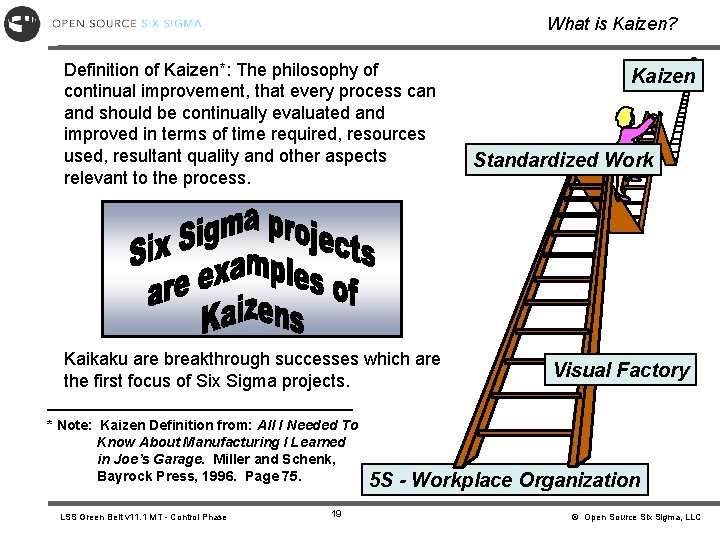 What is Kaizen? Definition of Kaizen*: The philosophy of continual improvement, that every process
