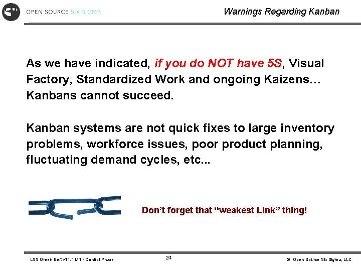 Warnings Regarding Kanban As we have indicated, if you do NOT have 5 S,