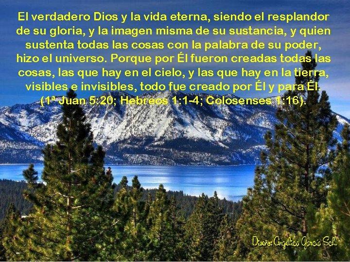 El verdadero Dios y la vida eterna, siendo el resplandor de su gloria, y