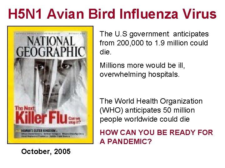 H 5 N 1 Avian Bird Influenza Virus The U. S government anticipates from