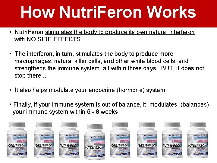How Nutri. Feron Works • Nutri. Feron stimulates the body to produce its own