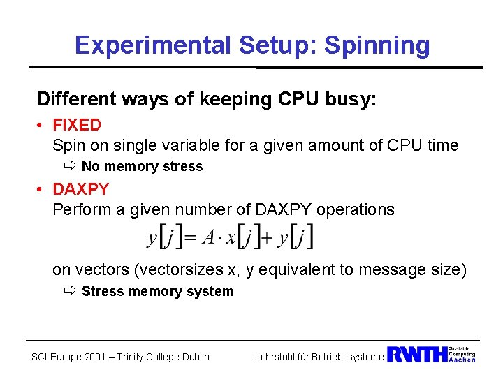 Experimental Setup: Spinning Different ways of keeping CPU busy: • FIXED Spin on single