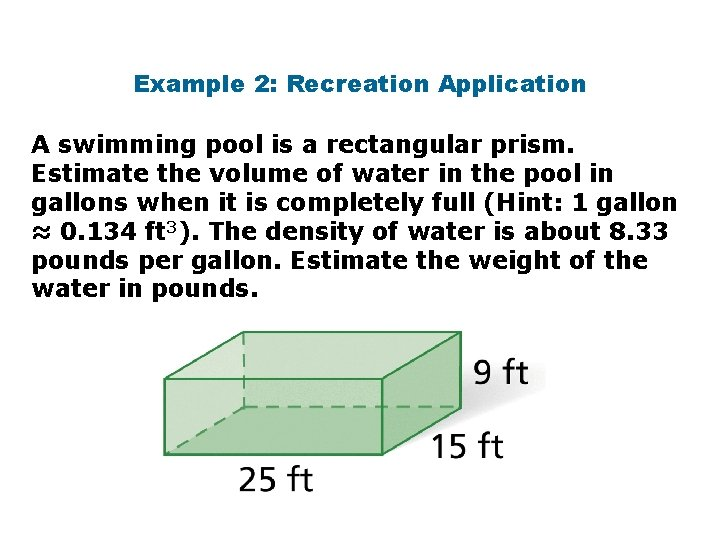 Example 2: Recreation Application A swimming pool is a rectangular prism. Estimate the volume