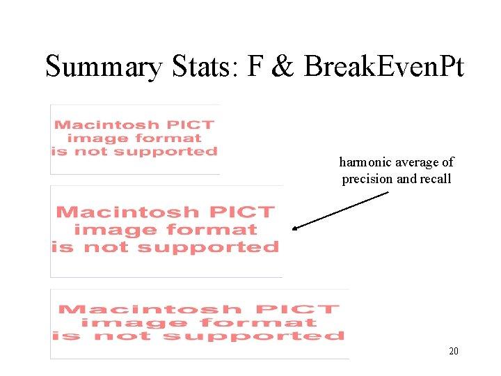 Summary Stats: F & Break. Even. Pt harmonic average of precision and recall 20
