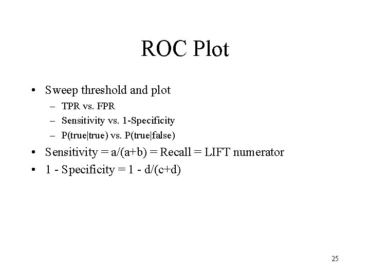 ROC Plot • Sweep threshold and plot – TPR vs. FPR – Sensitivity vs.