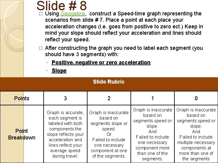 Slide # 8 Using Geogebra, construct a Speed-time graph representing the � scenarios from