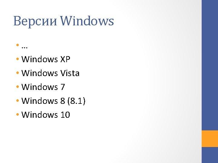 Версии Windows • … • Windows XP • Windows Vista • Windows 7 •