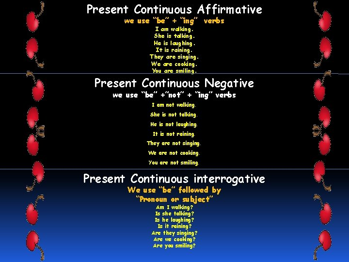 """Present Continuous Affirmative we use """"be"""" + """"ing"""" verbs I am walking. She is"""