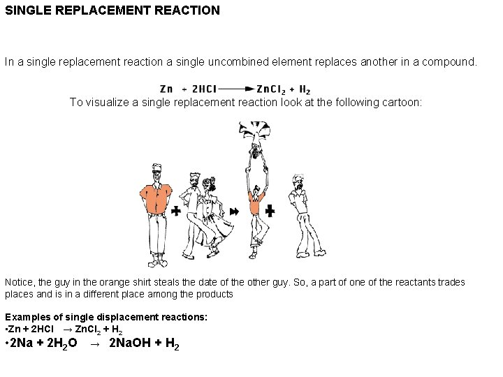 SINGLE REPLACEMENT REACTION In a single replacement reaction a single uncombined element replaces another