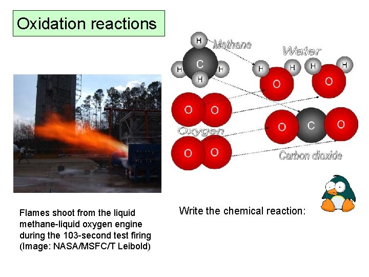 Oxidation reactions Flames shoot from the liquid methane-liquid oxygen engine during the 103 -second