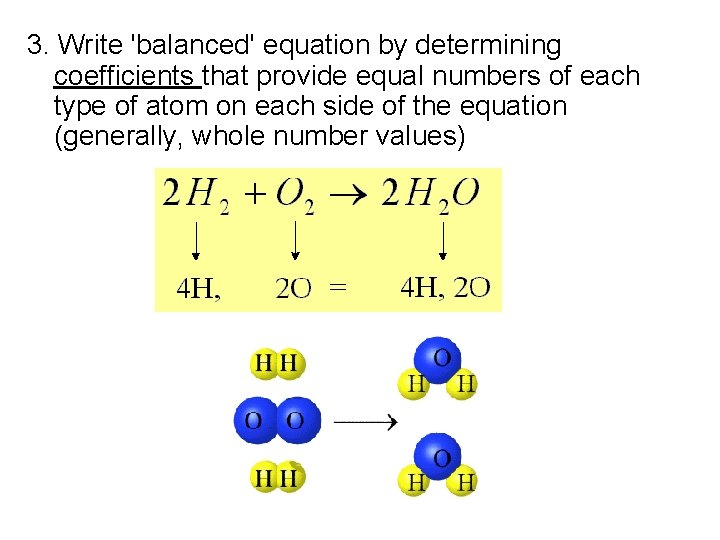 3. Write 'balanced' equation by determining coefficients that provide equal numbers of each type