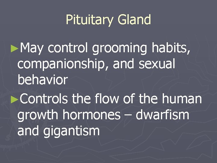 Pituitary Gland ►May control grooming habits, companionship, and sexual behavior ►Controls the flow of