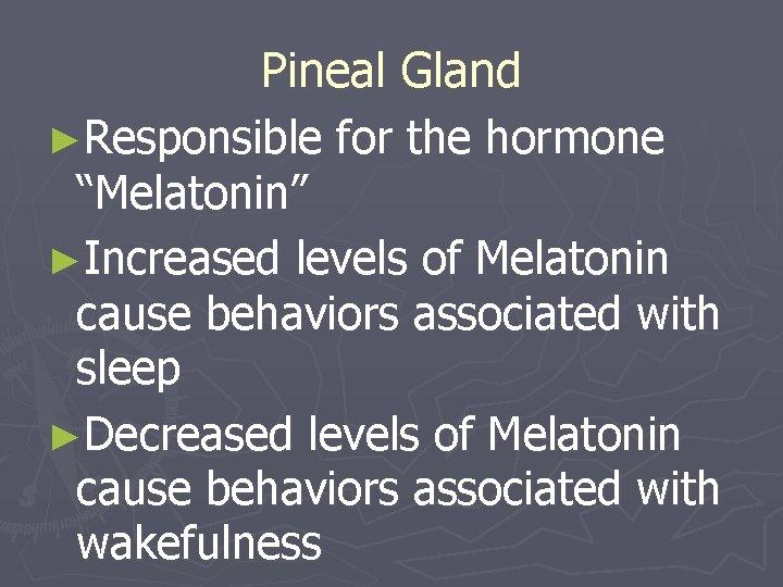 "Pineal Gland ►Responsible for the hormone ""Melatonin"" ►Increased levels of Melatonin cause behaviors associated"