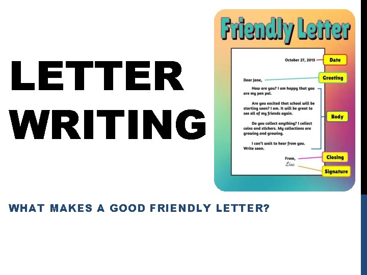 LETTER WRITING WHAT MAKES A GOOD FRIENDLY LETTER?