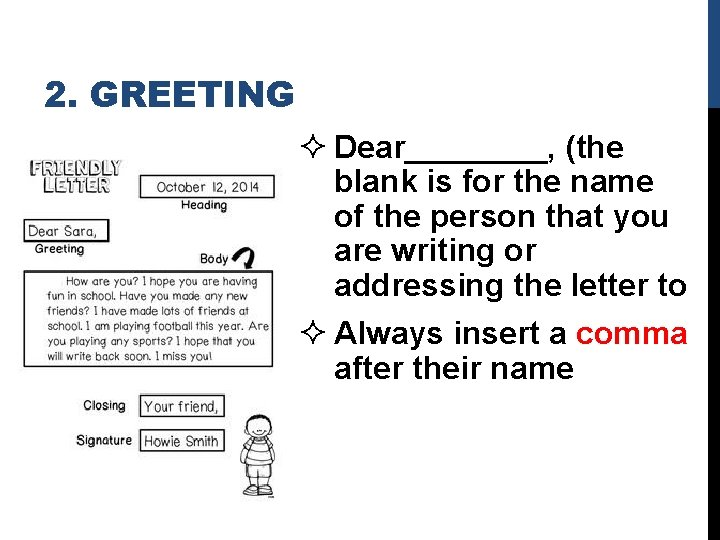 2. GREETING ² Dear____, (the blank is for the name of the person that