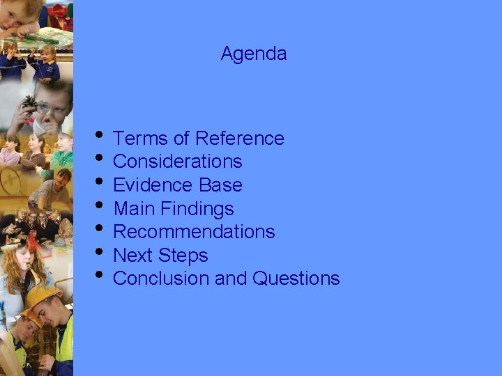 Agenda • Terms of Reference • Considerations • Evidence Base • Main Findings •