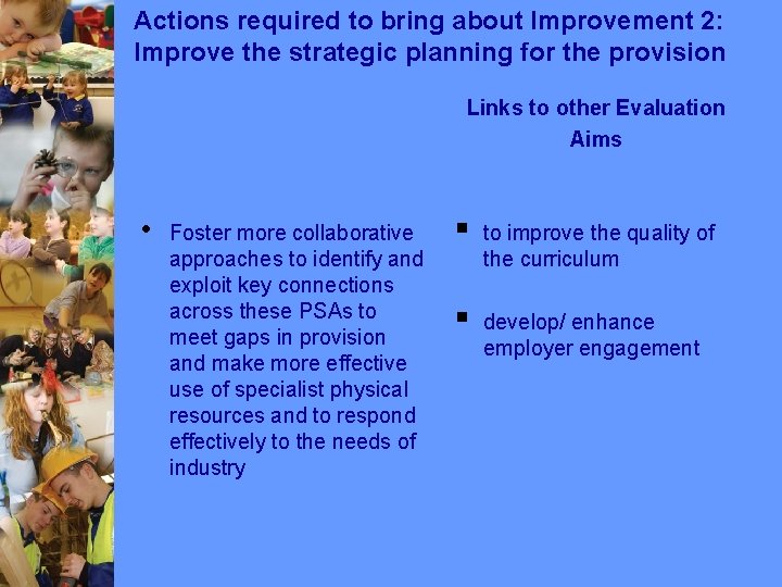 Actions required to bring about Improvement 2: Improve the strategic planning for the provision