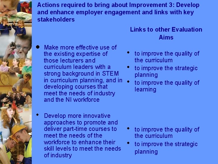 Actions required to bring about Improvement 3: Develop and enhance employer engagement and links