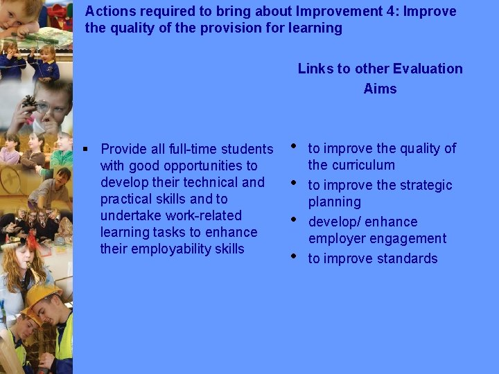 Actions required to bring about Improvement 4: Improve the quality of the provision for