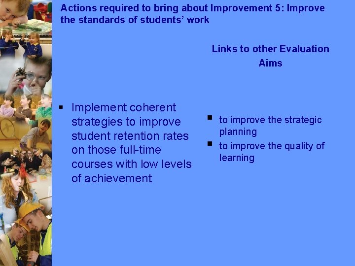 Actions required to bring about Improvement 5: Improve the standards of students' work Links