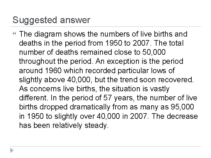 Suggested answer The diagram shows the numbers of live births and deaths in the