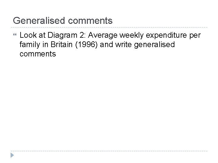 Generalised comments Look at Diagram 2: Average weekly expenditure per family in Britain (1996)