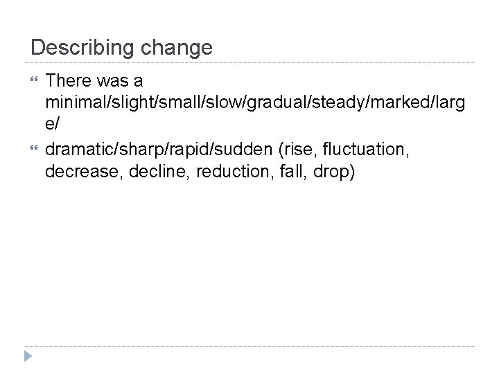 Describing change There was a minimal/slight/small/slow/gradual/steady/marked/larg e/ dramatic/sharp/rapid/sudden (rise, fluctuation, decrease, decline, reduction, fall,