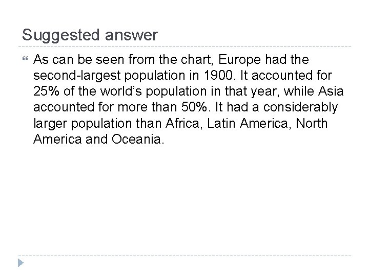 Suggested answer As can be seen from the chart, Europe had the second-largest population