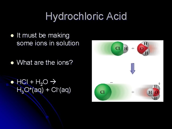 Hydrochloric Acid l It must be making some ions in solution l What are