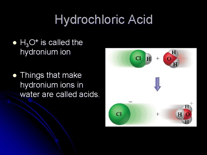 Hydrochloric Acid l H 3 O+ is called the hydronium ion l Things that