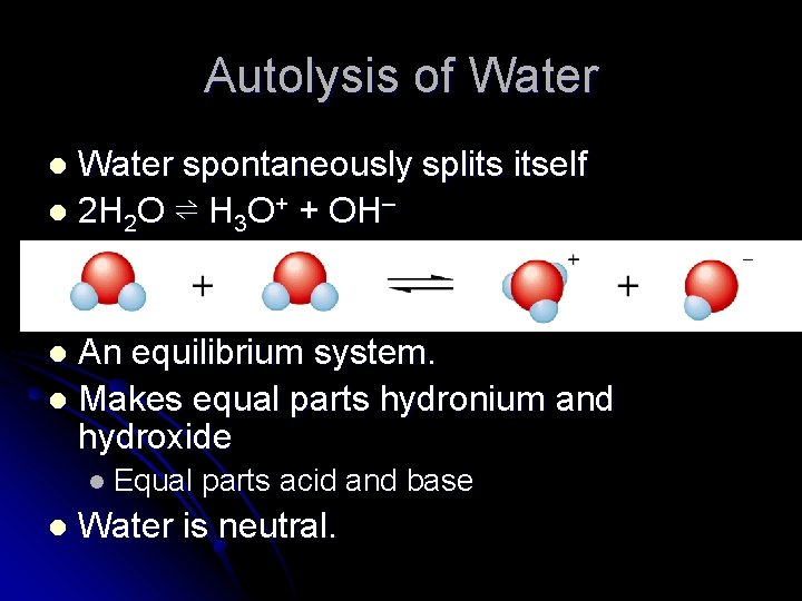 Autolysis of Water spontaneously splits itself l 2 H 2 O ⇌ H 3