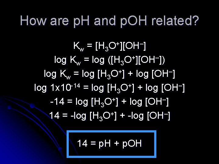 How are p. H and p. OH related? Kw = [H 3 O+][OH–] log