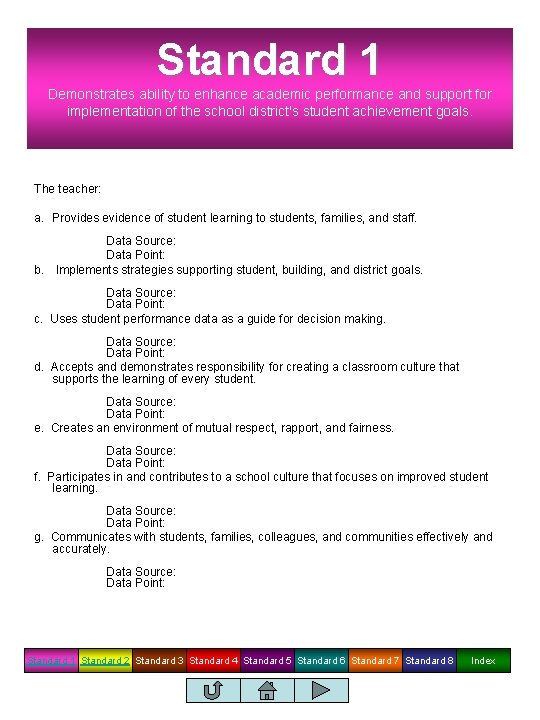 Standard 1 Demonstrates ability to enhance academic performance and support for implementation of the