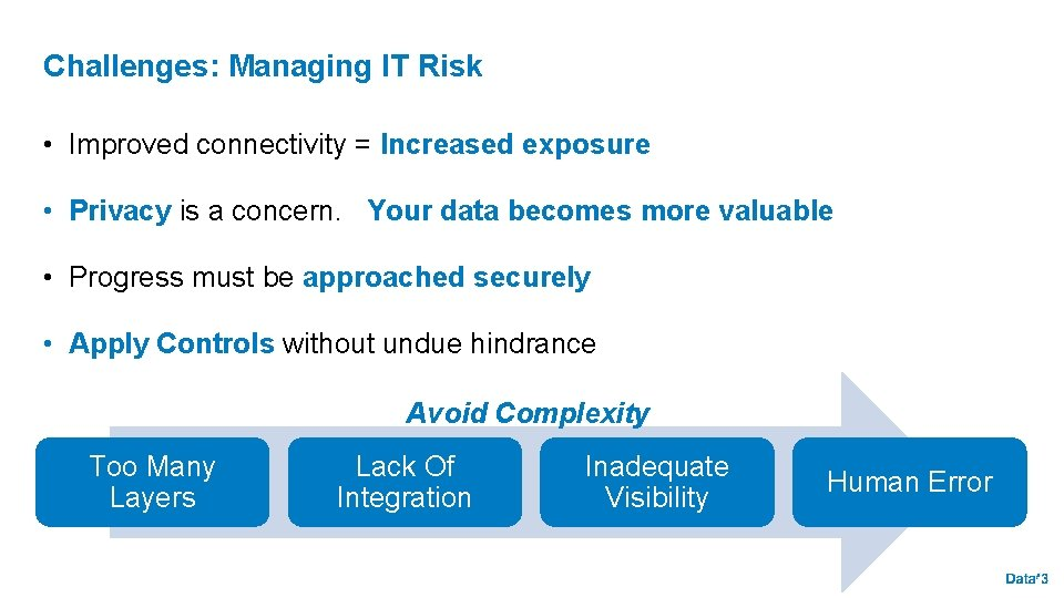 Challenges: Managing IT Risk • Improved connectivity = Increased exposure • Privacy is a