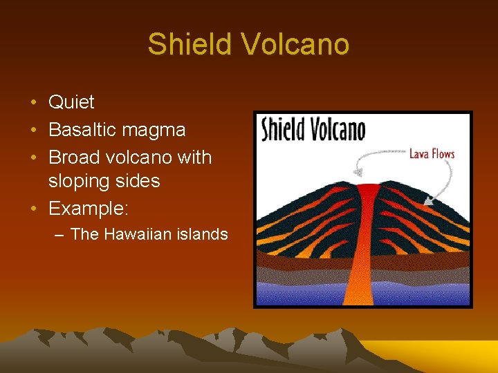Shield Volcano • Quiet • Basaltic magma • Broad volcano with sloping sides •